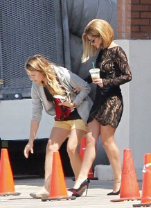 """Cameron Diaz and Cheryl Cole on the Set of """"What to Expect When You're Expecting"""""""